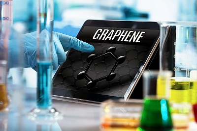 black iPad with unbeatable graphene on screen scientist hand samples solution